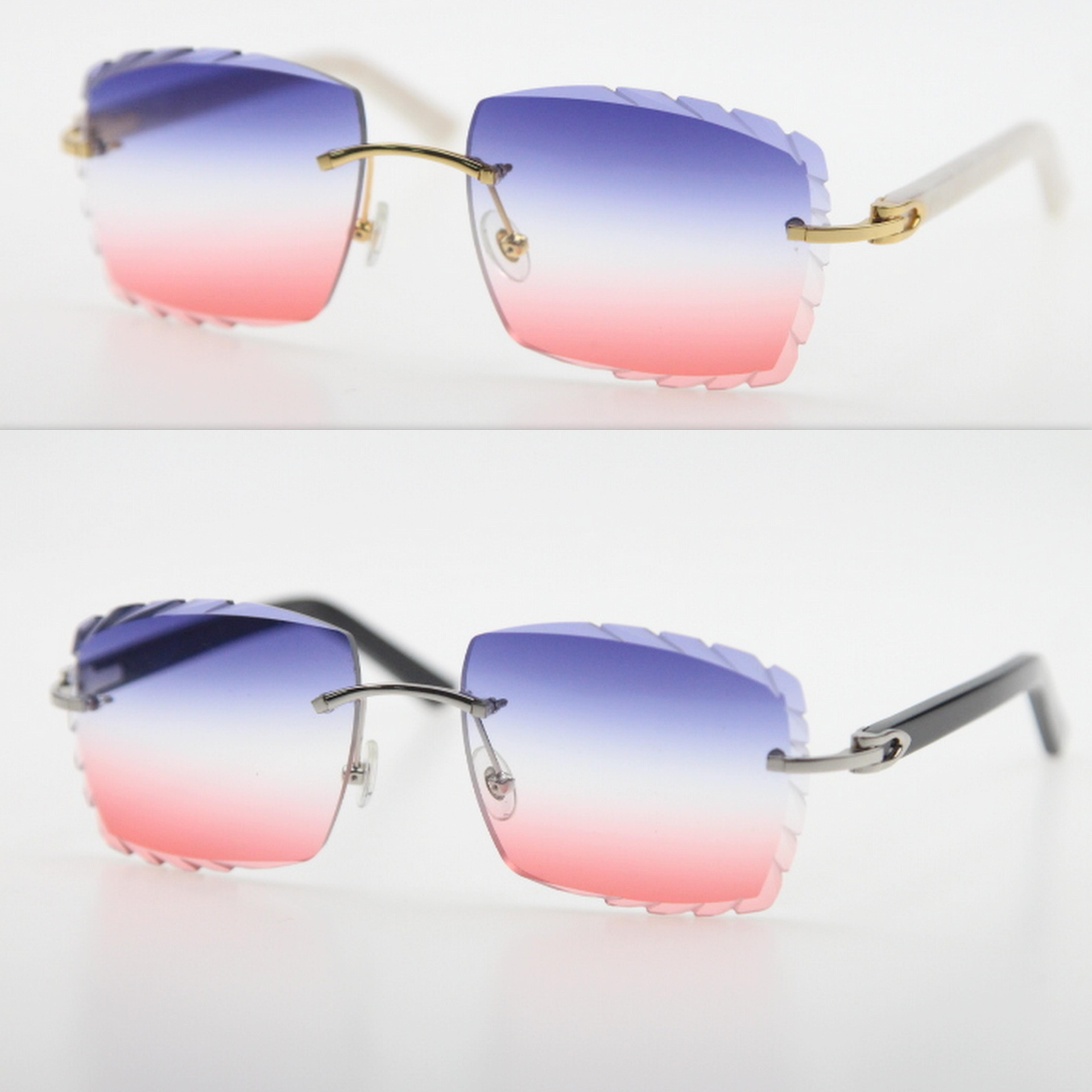 도매 판매 Unisex Rimless 판자 금속 남자 선글라스 18K 골드 대형 스퀘어 태양 안경 프레임 여성 C 장식 AZTEC 무기 안경 브라운 UV400 렌즈