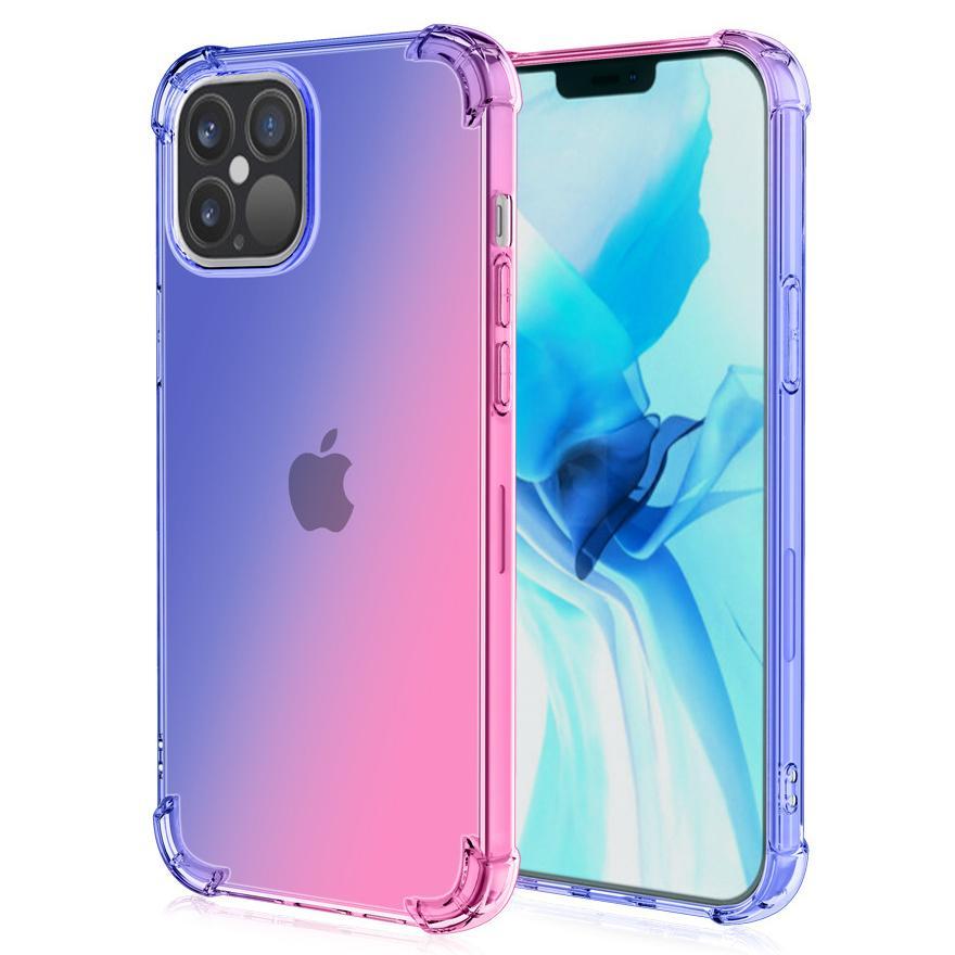 에어 쿠션 그라디언트 다채로운 투명한 투명한 소프트 고무 TPU 실리콘 케이스 커버 아이폰 13 프로 최대 12 미니 11 xs xr x 8 7 6 6s Plus Se