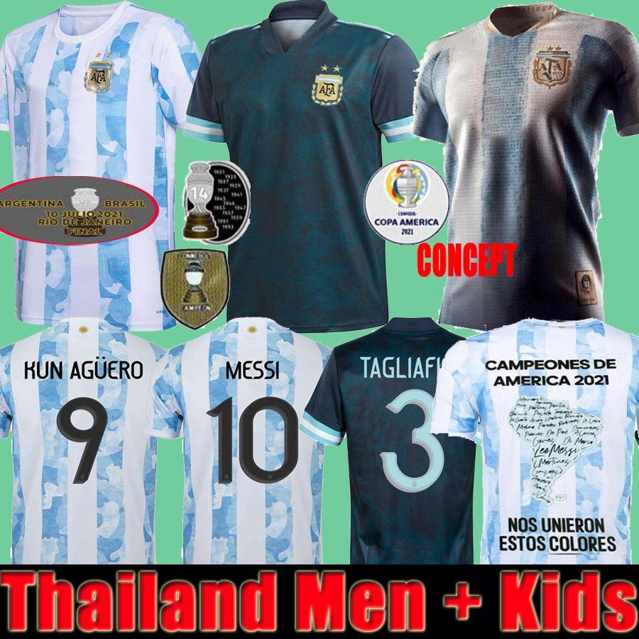 Fans Player Final Argentina Maradona Messi Soccer Jerseys 2021 22 Hogar lejos Kun Agüero di Maria Lo Celso Martinez Correa Jersey Jersey Camisa Hombres niños
