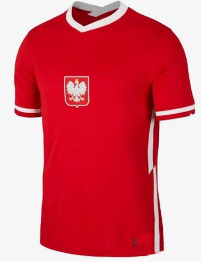 2020 2021 Pol Lewandowski 국가 대표팀 및 축구 유니폼 홈 화이트 멀리 빨간 밀크 Piszczek Piatek Grosicki Jersey Football Shirts