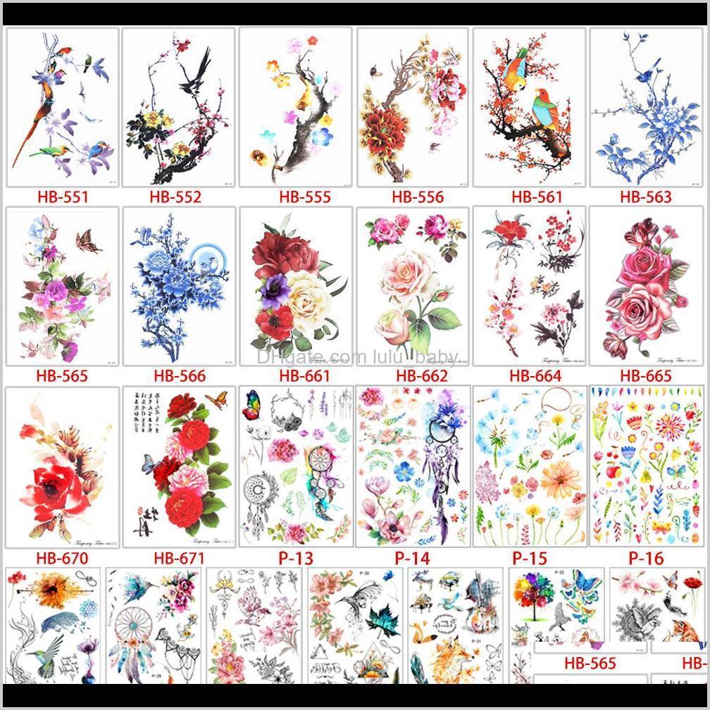 1 قطعة زهرة الطيور صائق وهمية النساء الرجال diy الحناء الجسم الفن تصميم فراشة شجرة فرع حية ملصقا xunn tattoos 7k2ah