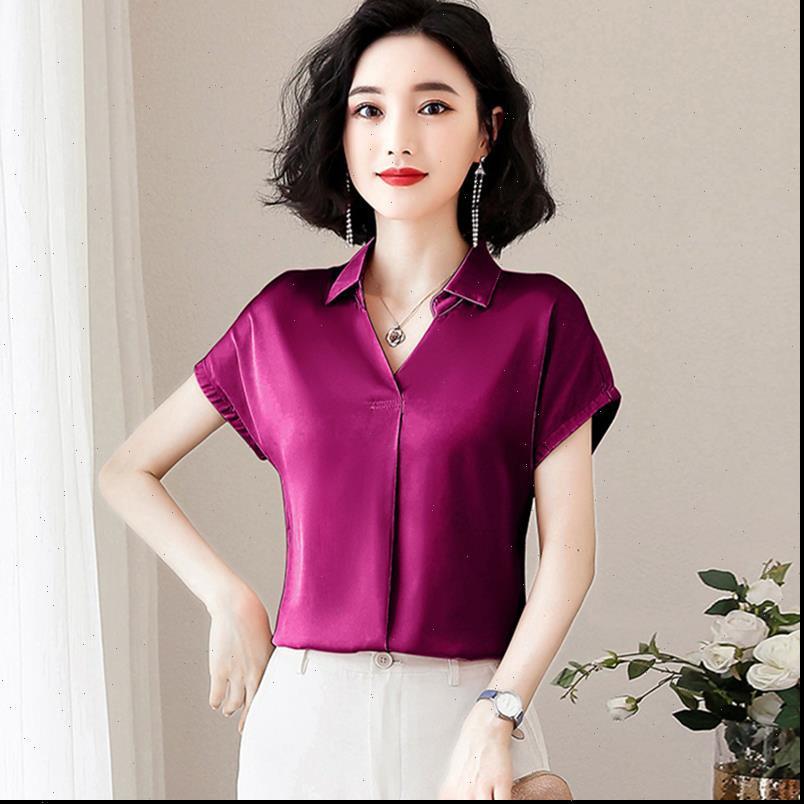 Kore Moda Ipek Saten Kadın Gömlek Katı Kısa Kollu Pembe Artı Boyutu XXXL Bayan Üstleri Ve