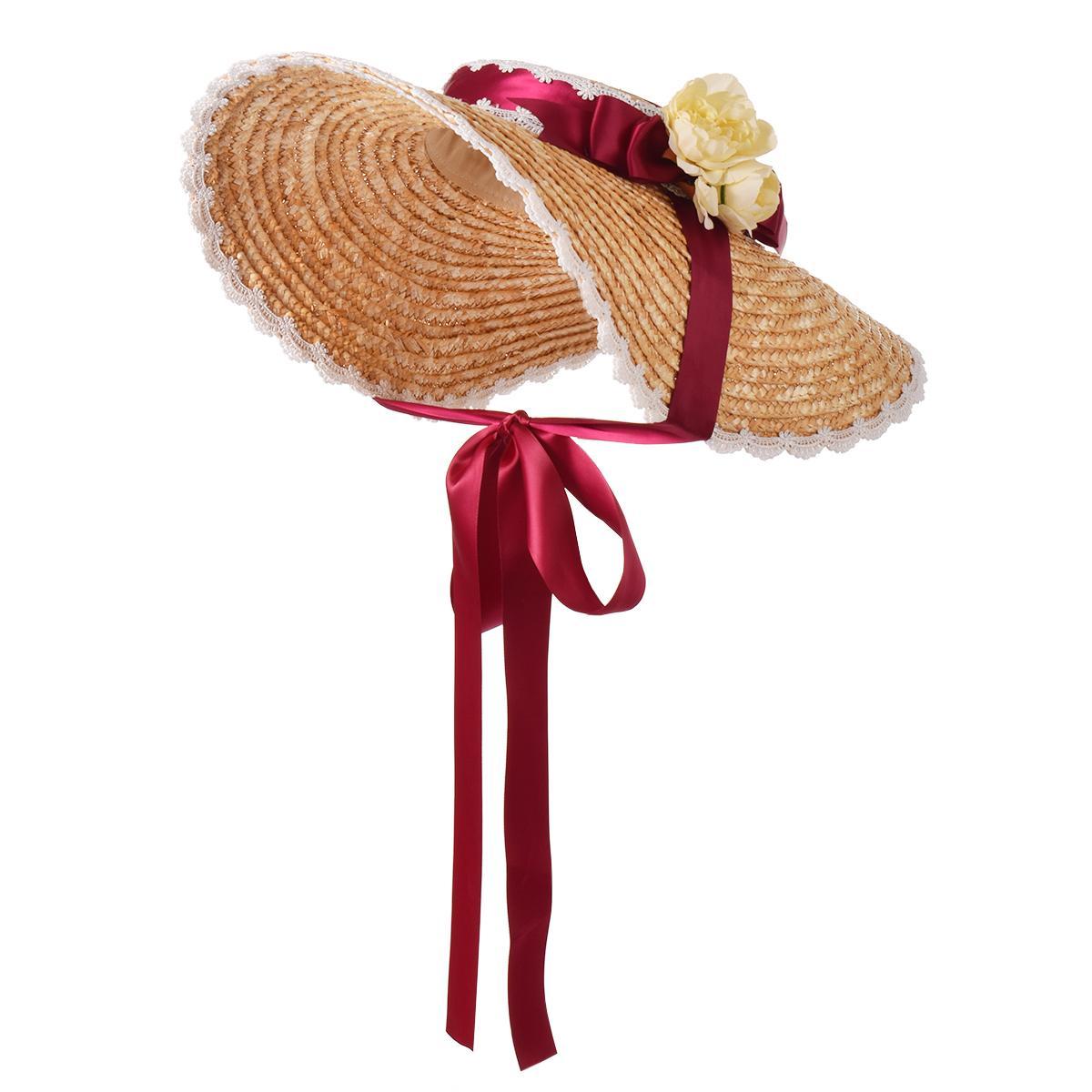 Women Ladies Retro Straw Lolita Hat French Style Spring Summer Afternoon Tea pastoral cap Cosplay Sun Hats