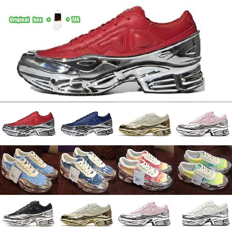 [الأصلي المربع + الجوارب + Tag] King تفضيلية ادفع الأحذية الاحذية Ozweego 3 × راف سيمونز للرجال والنساء سائل الفضة مطلي أبي حذاء أحذية رياضية الحجم يورو 36-45