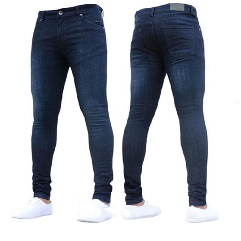 Pants Plus Size Men Streetwear Casual Trousers Denim Black Jeans Slim Stretch Jogger Solid Skinny Jeans