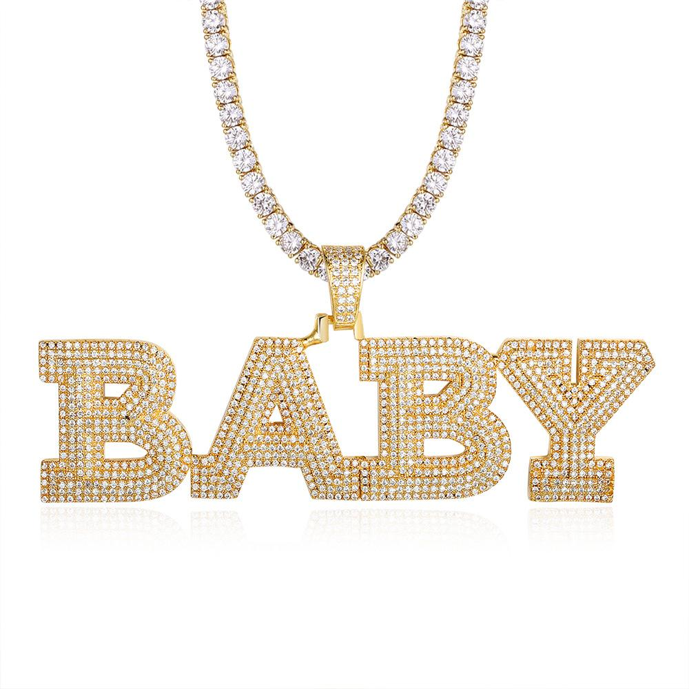 A-Z Custom Name Letters Pendant Cubic Zircon Necklaces For Men Women Gold Color Plated Hip Hop Rock Jewelry