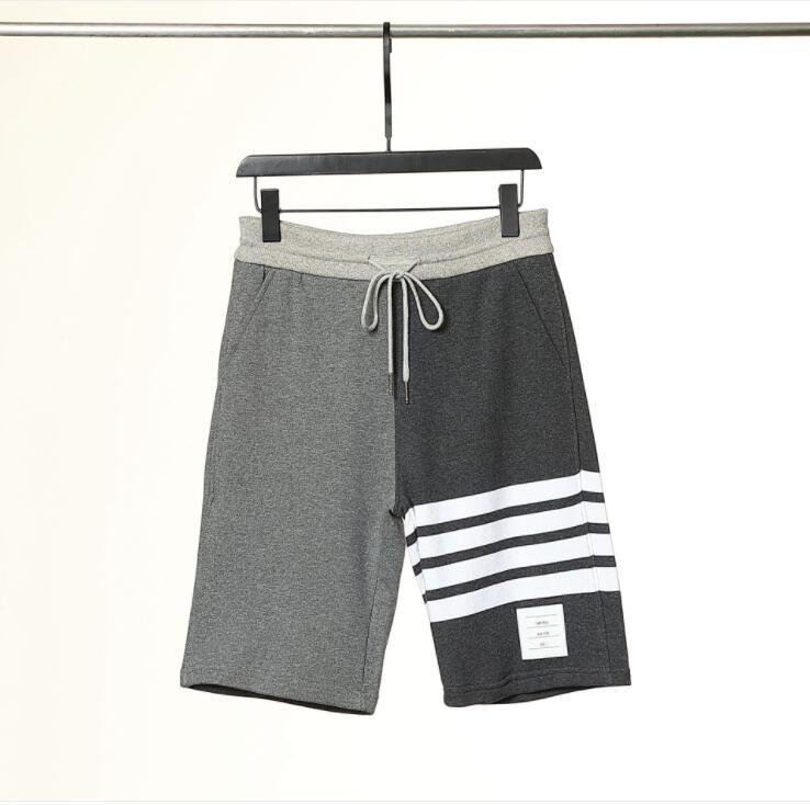 2021 Sommer Herren Shorts Farbe Reine Baumwolle gewebt Kontrastfarbe Shorts Vier Bars Casual Hosen Jogginghose