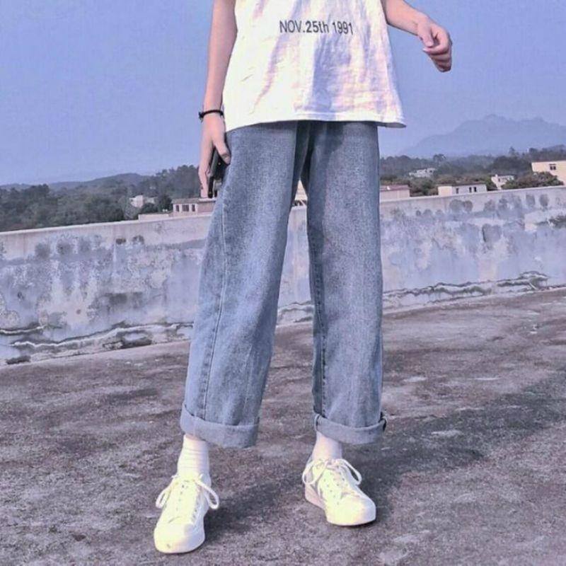 Novio jeans mujeres verano denim sólido cintura alta suelta casual recto coreano streetwear dama pantalón vintage harem largo pantalón