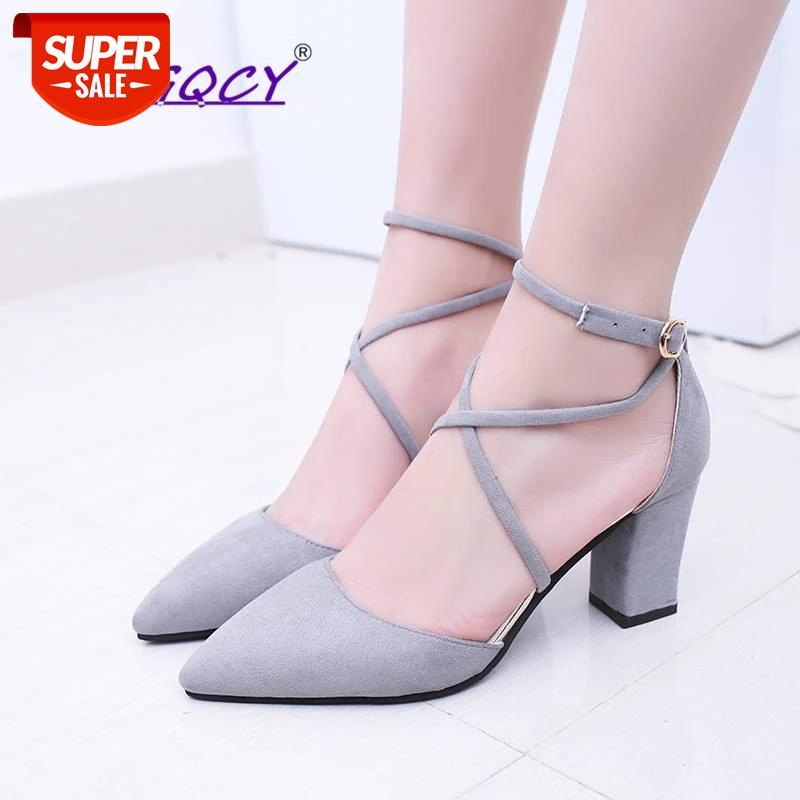 Pointed Toe Suede Square heel High heels pumps women shoes 2019Autumn Summer Hollow Riband Buckle Strap ladies #C61a