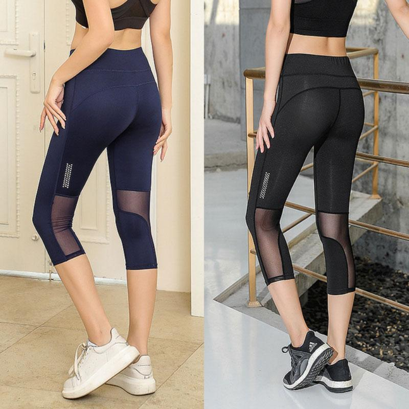 Yoga Outfit 3/4 Women Mesh Sport Fitness Leggings High Waist Capri Tights Pants Solid Sports Wear For Gym Push Up