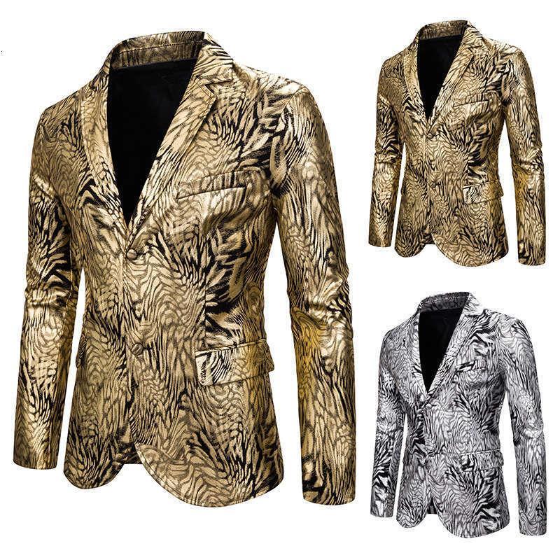 Костюмы Blazers мужская стройная мода змея печать золота тиснение костюма платье шоу пальто x133