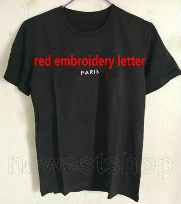 2021 Fassung Mode Designer Herren Sommerkleidung T-Shirt Paris Stickerei Roter Brief Tshirts Baumwolle T-Shirts T-Shirts