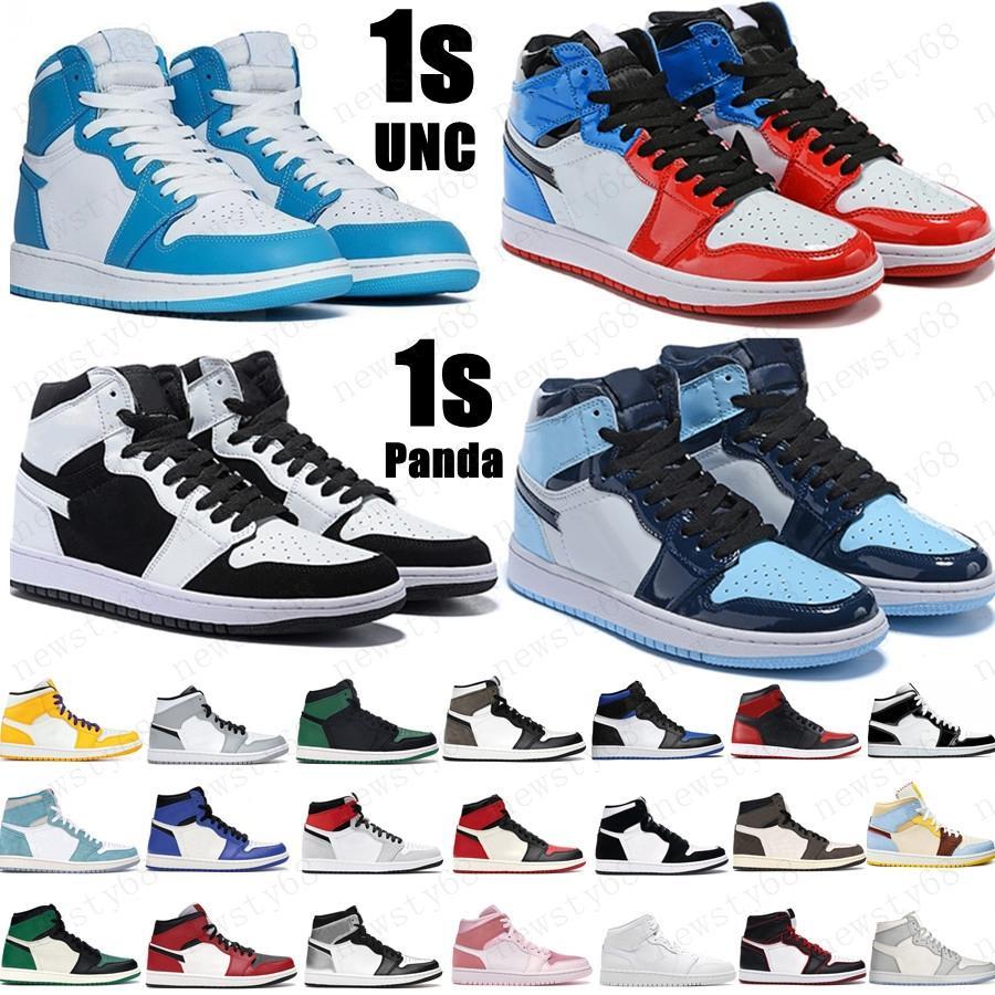 2020 الصنوبر الأخضر الأسود 1 ثانية أحذية كرة السلة jumpman 1 سلالة الرجال مصمم أحذية رياضية الخوف من سبج براءات الاختراع الذهب أسود أخمص