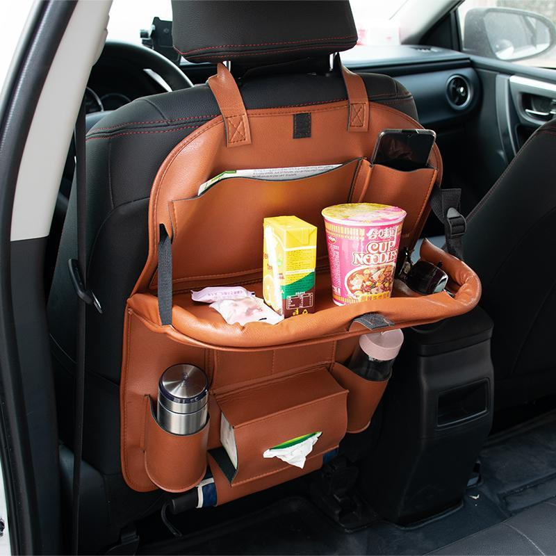 Car Organizer Seat Back Bag Folding Table Pad Drink Chair Storage Pocket Box Travel Stowing Tidying Auto Accessories
