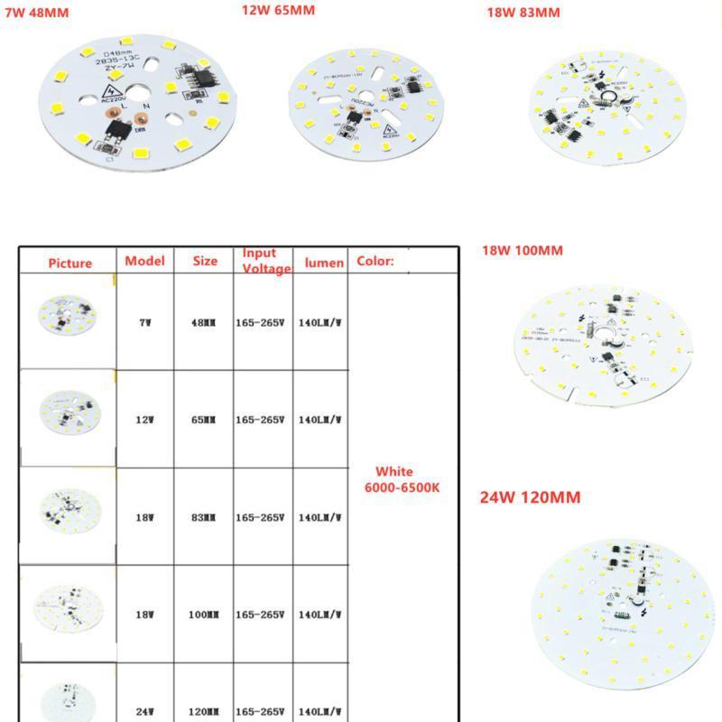 Световые бусины AC 220V Высоковольтное напряжение SMD 2835 Белый цвет Линейный умный IC Нет привода 7W 12W 18W 24W 6500K PCB Лампочку На панелью светодиодный чип