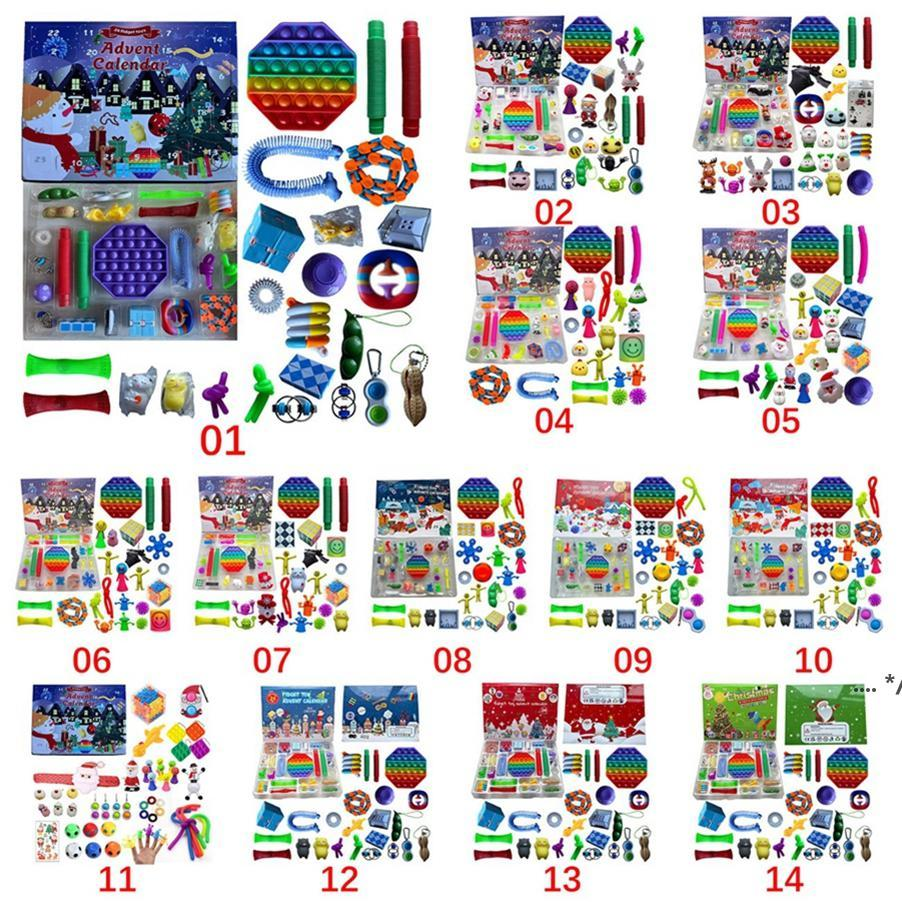 24 stück Set Weihnachtszappeln Spielzeug Adventskalender mit Augenbox Geschenke Einfache Grübchen Dekompression Spielzeug weiche Squeeze logische Argumentation Seaway FWB9919