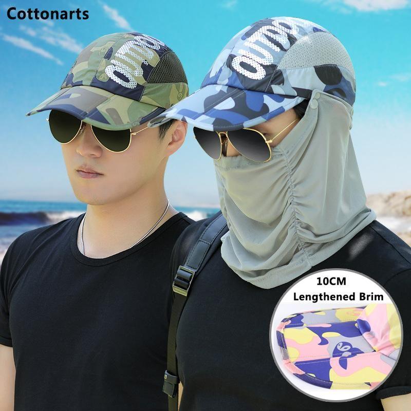 Wide Brim Hats Camouflage Tri-fold Hat Baseball Cap Men Fishing Quick-drying Visor Sun Unisex 2021 Detachable Mask Mountaineering