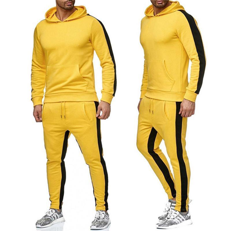 Otoño invierno patchwork bolsillo suéter top hombres pantalones conjuntos deportes traje chándal negro bruce lee amarillo cosplay blanco rojo
