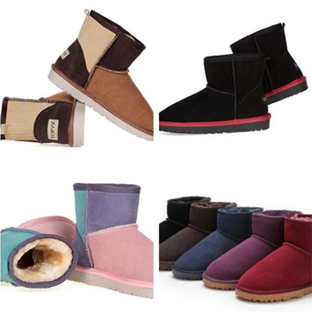 أعلى الكلاسيكية النساء 058541 مصغرة ثلج التمهيد العلامة التجارية شعبية AUSG أحذية جلد طبيعي أزياء المرأة الثلوج أحذية 18 نمط لون تجوال مجاني