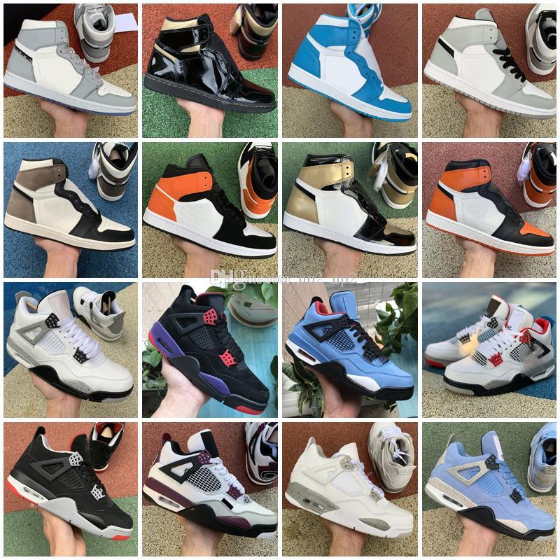 2021 Açık Ayakkabı 4 4 S Beyaz Oreo Üniversitesi Mavi Jumpman 1 1 S Hyper Kraliyet Gölge Büküm Erkek Kadın Eğitmenler Sneakers 36-47
