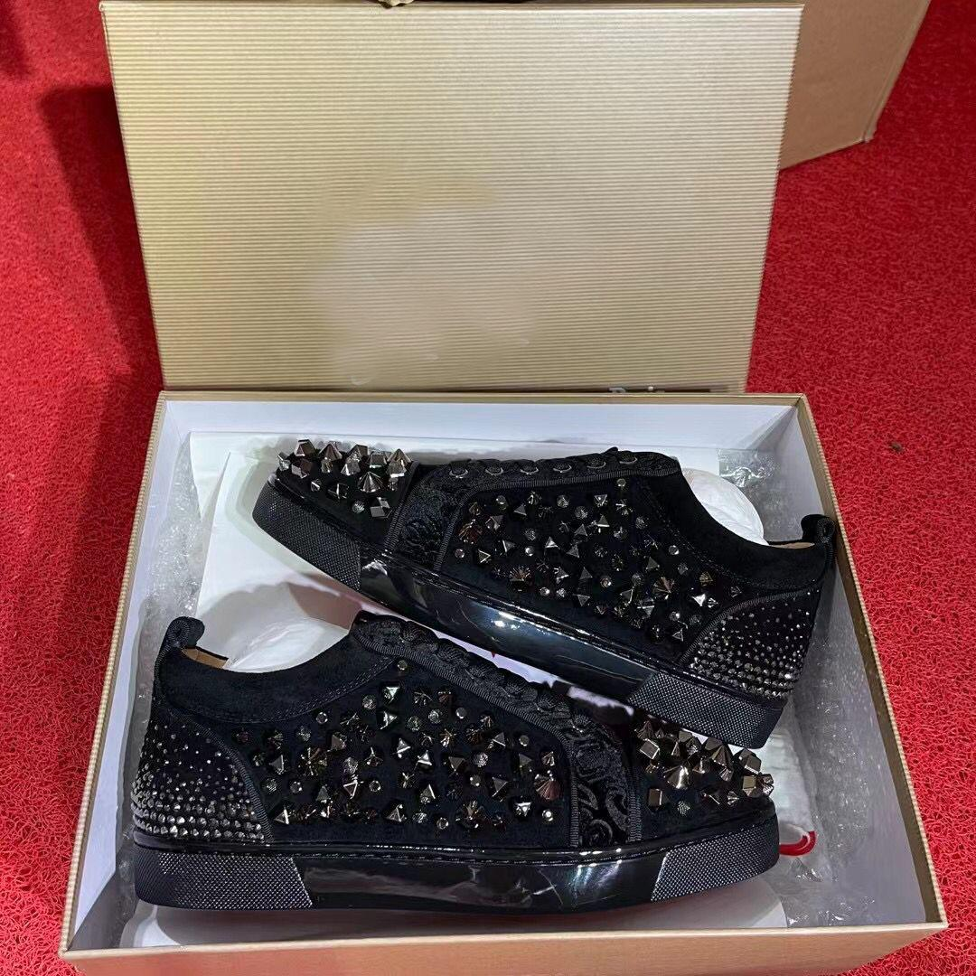 Ünlü Kırmızı Alt Sneakers Ayakkabı Düşük Üst Genç Erkekler, Kadın Rahat Lüks Çiviler Strass Kaykay Yürüyüş Konfor Toptan Ayakkabı Trainer AB 35-47