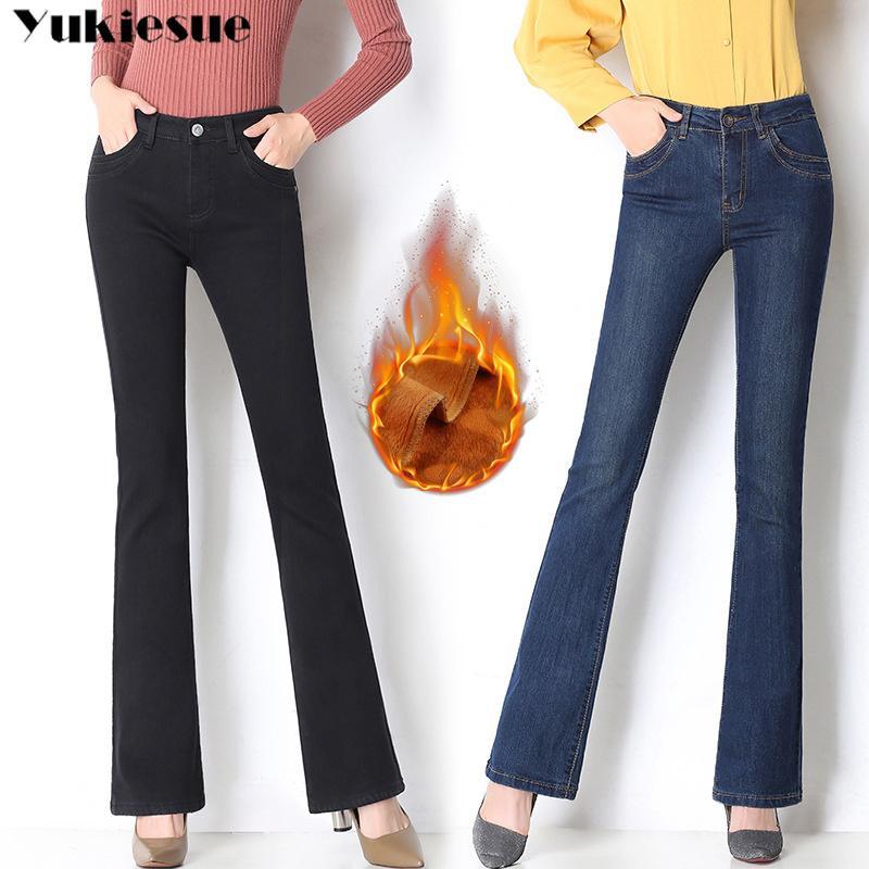 Winter warm Fleece Wide Bein Jeans Frau mit hoher Taille Skinny ol Office Denim Jeans für Frauen Flare Momer Jeans Plus Größe Mujer 210412
