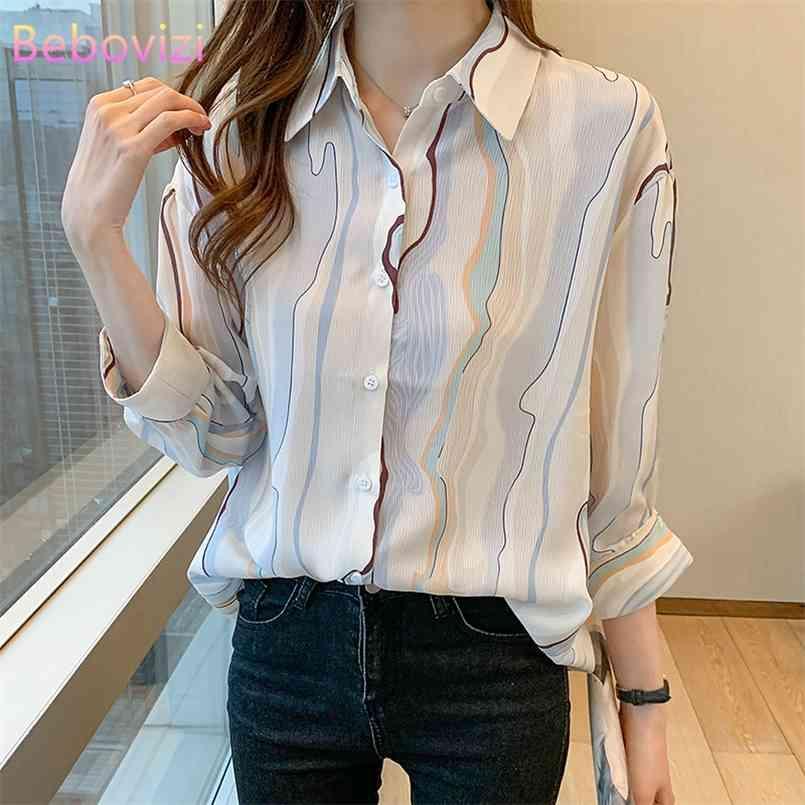 S-XXL-Mode-Abschleppungskragen Sommer Casual Dreiviertel Frauen Button Up Tops und Hemden Büro Dame Arbeitskleidung 210603