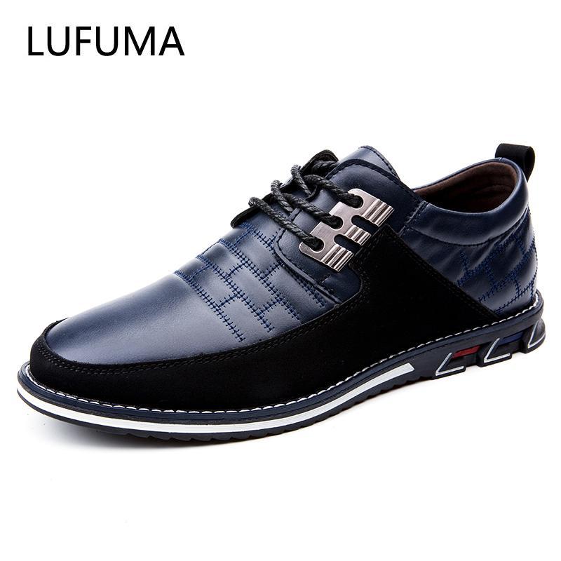 Lufuma yeni yaz sonbahar deri erkek ayakkabı moda rahat ayakkabılar dantel-up loafer'lar iş gelinlik ayakkabı büyük boy 38-48 210330