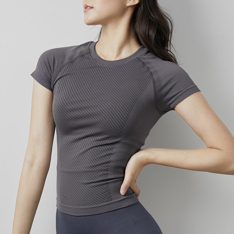 Yiang Spring and Summer Fitness Running Manga corta Elástico Yoga Traje para mujer Transpirable T-shirt