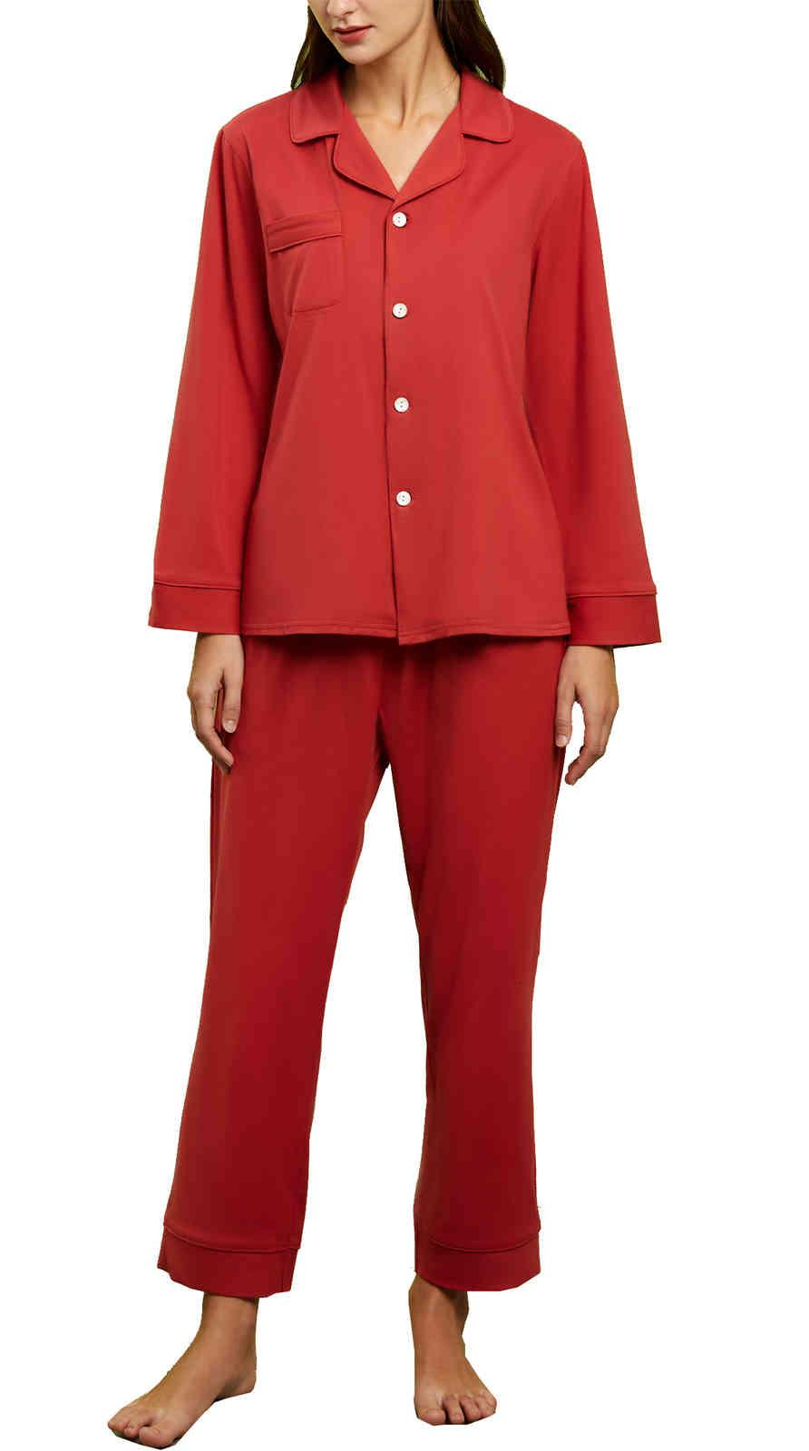 Femmes Coton Pyjamas Ensemble Classic Manches Longues Bouton Down Wightwear Nightwear Nightwear Dames Retro V ecoux Loungewear PJS 2 pièces