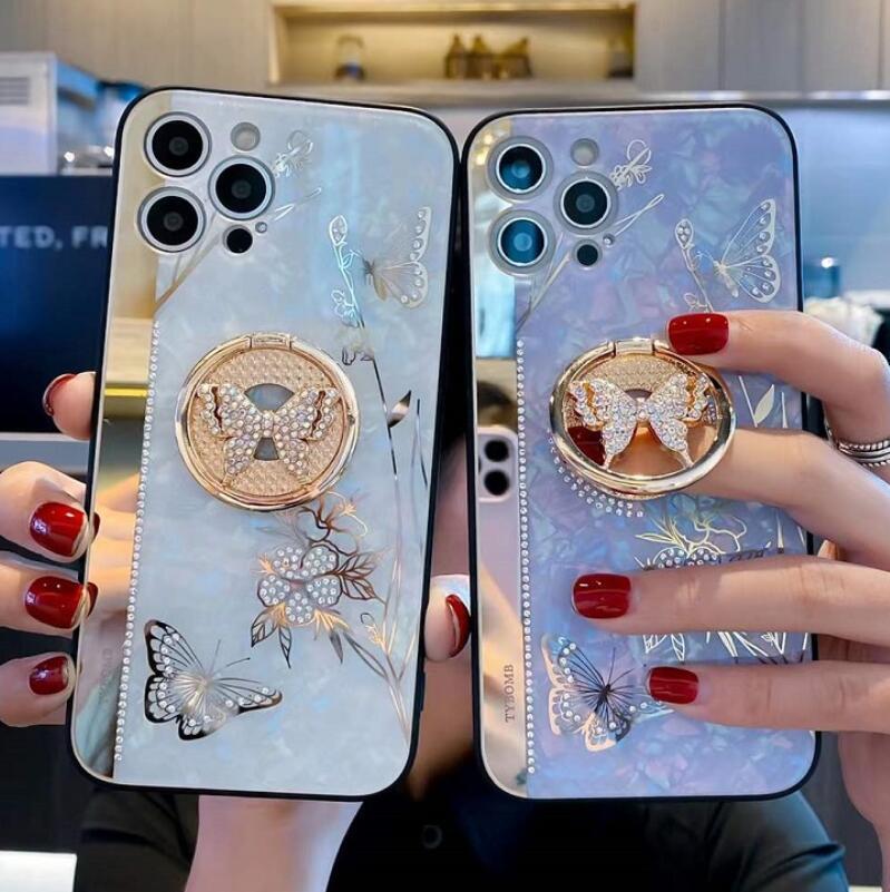 Miroir Strinestone 3D Butterfly Butterfly Boîtes de téléphone avec socle pour iPhone 12 11 Pro Max XR XS 7 8 Plus Samsung S20 S21 Note 20 Ultra A42 A52 A72