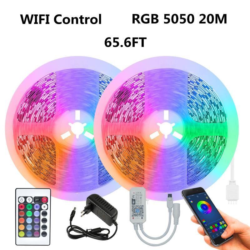 와이파이 24 키 방수 RGB EU 플러그 스마트 65.6 FT Ahout 20m Eenvoudig Te Installeren Geschikt Voor Familie Kamer Decoratie LED 스트립