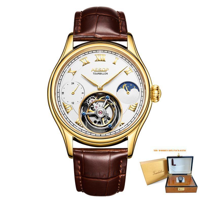 Armbanduhren 100% echte tourbillon männer watch automatische mechanische hohl männliche uhr kreative einzigartige multifunktionale geschenkuhren