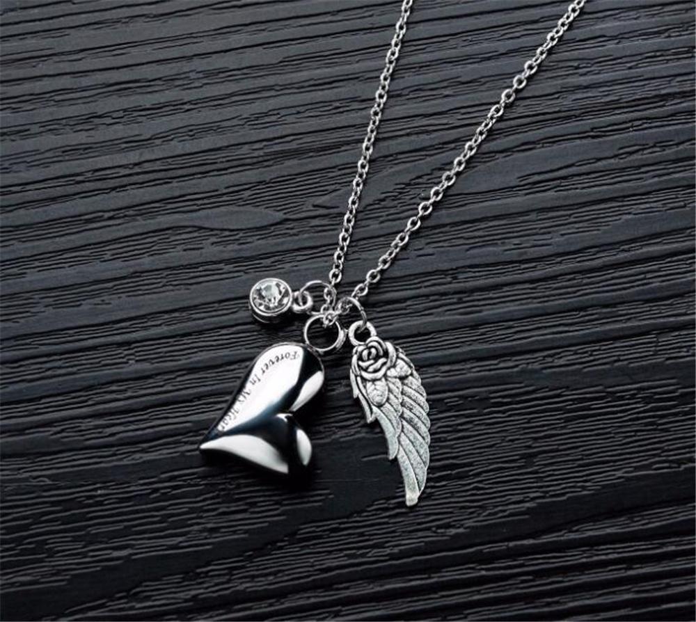 Оптом собака тега идентификатор карты из нержавеющей стали урна кулон ожерелье с кристаллическим камнем кристалл ангельский ангел крылья ясень сердца мемориальная цепь серебристый