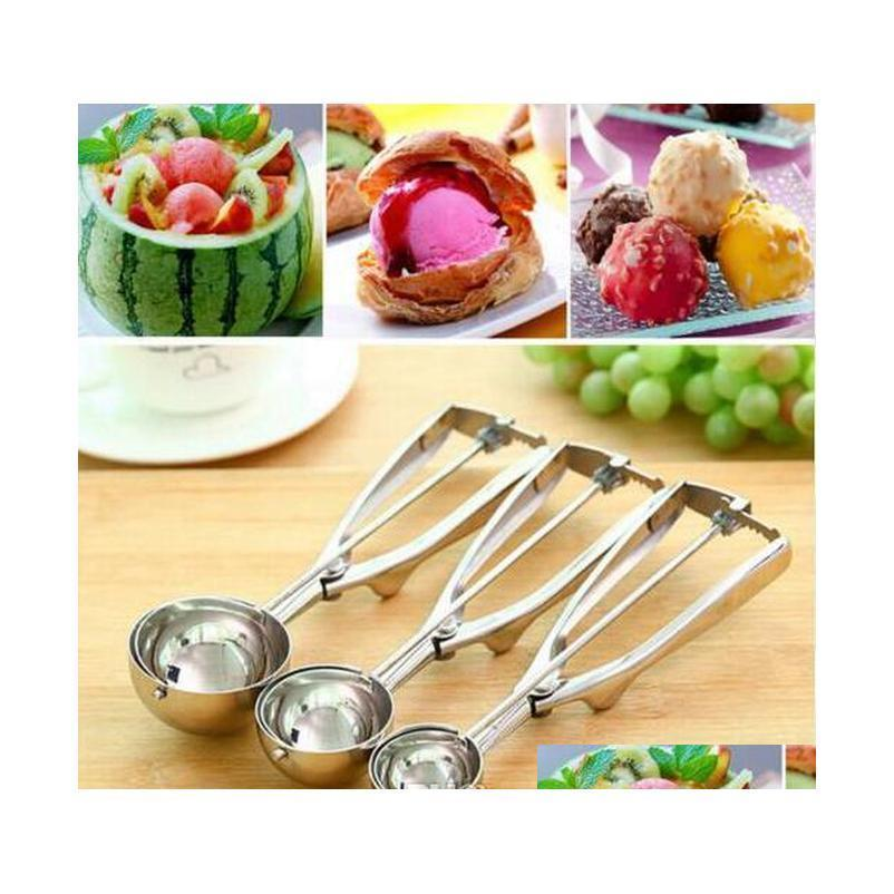 Kitchen, Dining Bar Home & Garden Drop Delivery 2021 Stainless Steel 4Cm 5Cm 6Cm Ice Scoop Dough Disher Watermelon Spoon Kitchen Tools Uxcok