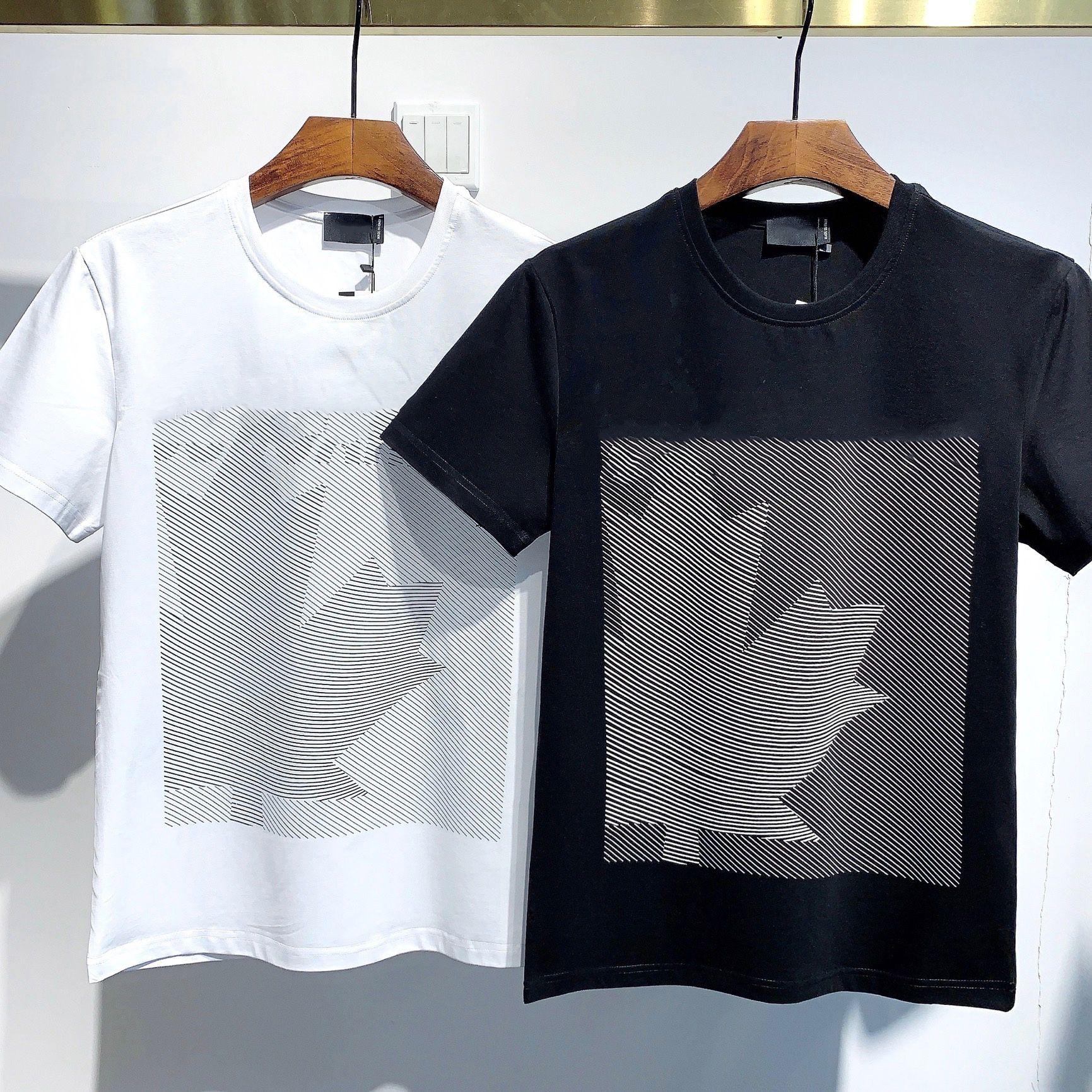 2021 패션 아이콘 디자이너 남성 여성 T 셔츠 # DT036 여름 클래식 메이플 리프 티 필수품 흰색 편지 인쇄 캐주얼 의류