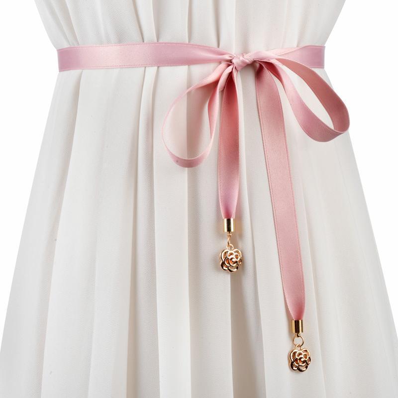 Cinture Piccolo Ciondolo rosa Pendente in tessuto Ladies Simple Simple Wild Ribbon Cravatta Decorativa Corda Abbigliamento Abito Abito in vita