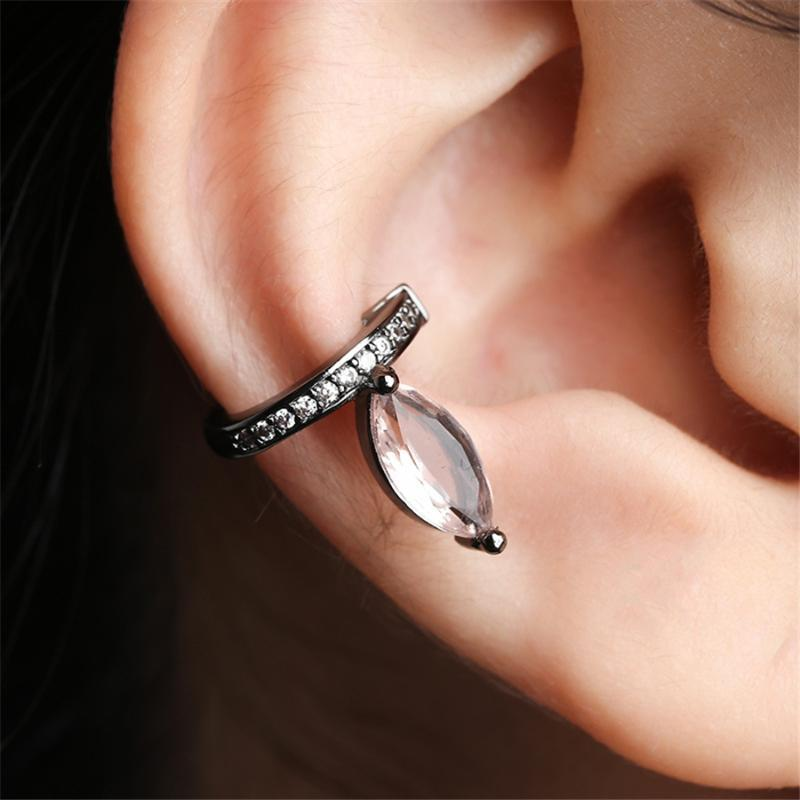 Clip-на заднем плане Мода мода ушная клип нежный лист форма маленький кулон шарман дам темперамент серьги