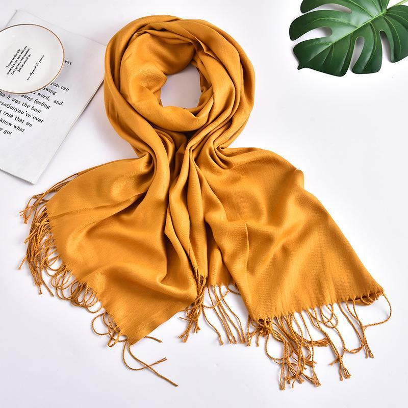 Solid Color Shawl Women Cashmere Feeling Touch Plain Scarf With Tassels Muslim Hijab Scarves Many Colors Provided