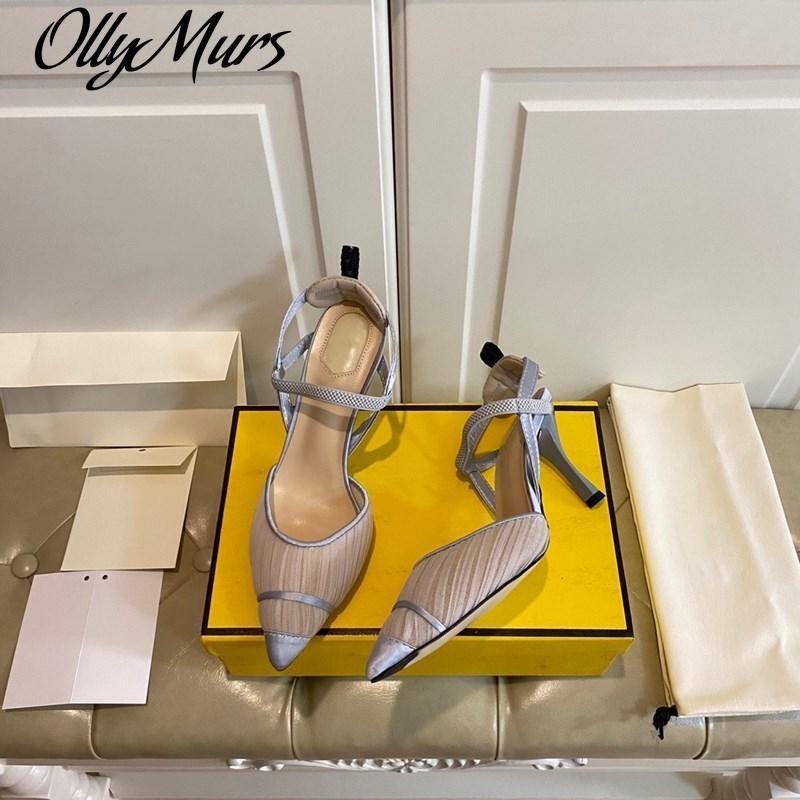 Fios líquidos Senhoras de salto alto sapatos sexy designer de luxo marca mulher bombas fina 8.5cm Ótido dedo vestido de couro genuíno
