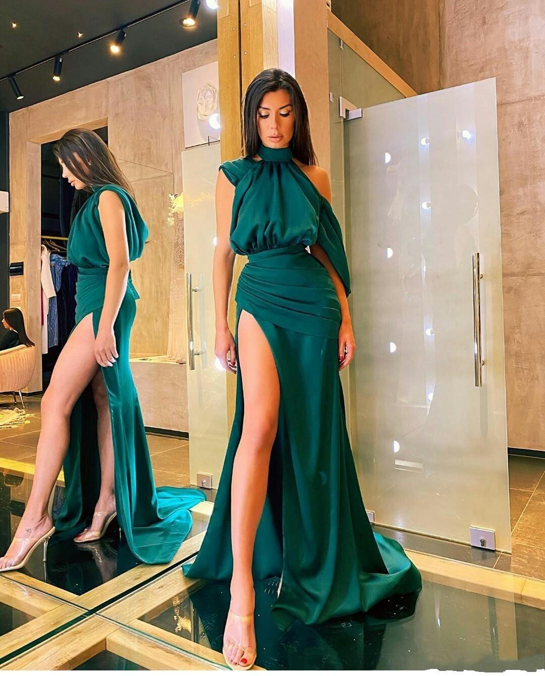 2021 Vintage Sexy Dark Green Arabia Prom Dresses High Neck Dubai Mermaid Side Split Evening Dress Satin Formal Party Gowns Custom Made Sweep Train Plus Size