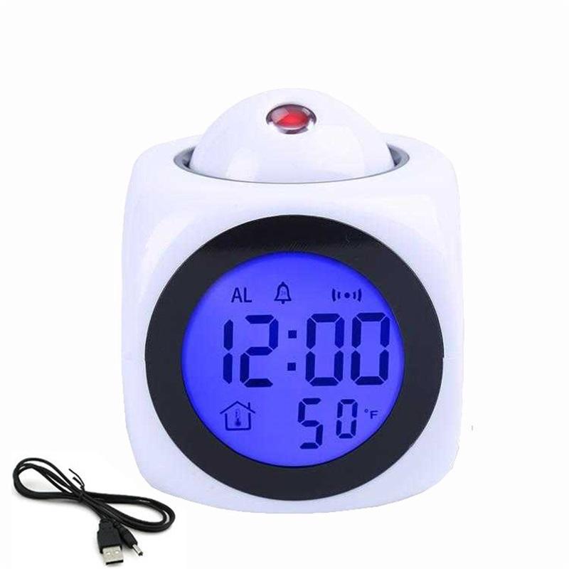 프로젝션 알람 시계 LED 램프 디지털 음성 말하기 기능 LED 벽 천장 프로젝션 알람 SN 온도 디스플레이 678 v2
