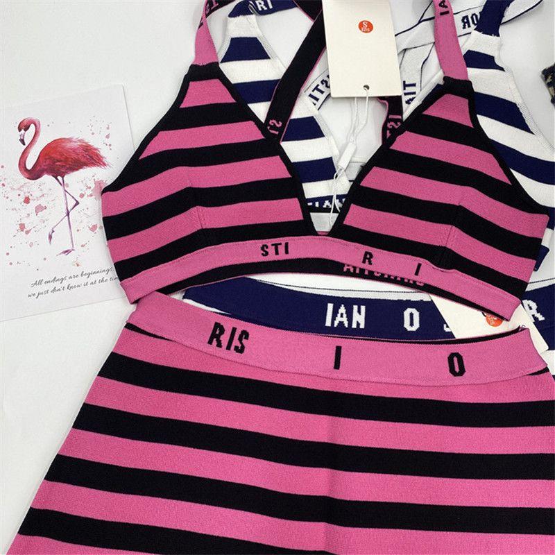 Blaue gestreifte Hohe Taille Swimwear Klassische Brief Badeanzug Resort Party Sexy Bikini Strand Badeanzug Sommer Mode Badeanzüge