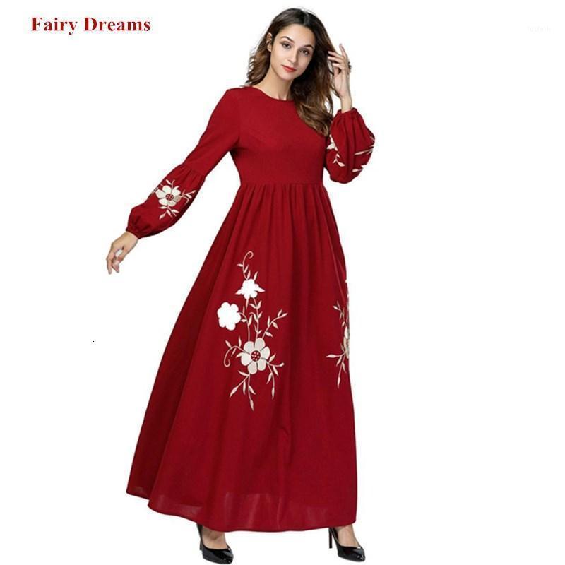 여성 자수 맥시 무슬림 드레스 kaftan 터키 방글라데시 아랍 이슬람 의류 숙녀 플러스 사이즈 로브 4XL1