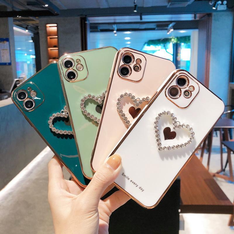 3D الماس القلب كروم لينة tpu حالات الهاتف ساطع آيفون 12 11 الموالية promax x xs ماكس 7 8 زائد غطاء الفاخرة