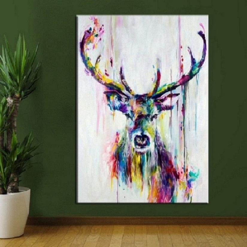 2021 Gerahmt Ungerahmt hochwertige handgemalte HD Print Modern Abstrakte Tierkunst Malerei Hirsch Home Wand Dekor auf Leinwand Multi Größen