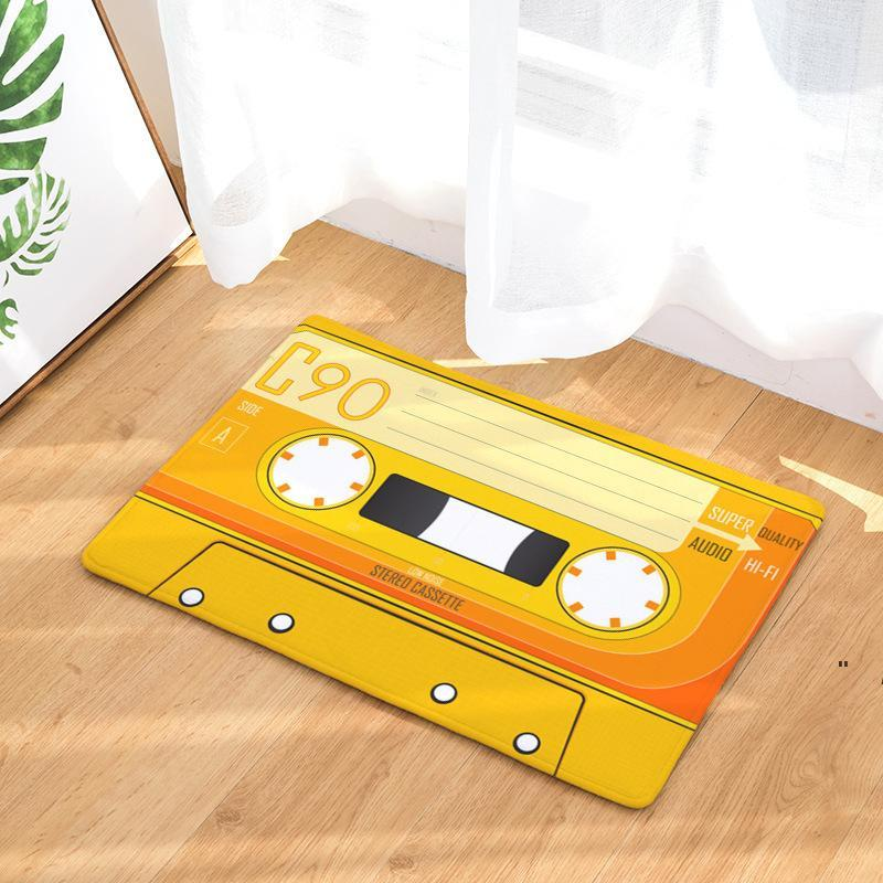 도어 매트 플란넬 플러시 빈티지 카세트 테이프 실내 Doormat 비 슬립 도어 바닥 매트 카펫 러그 장식 현관 Doormat Tapete owb6351
