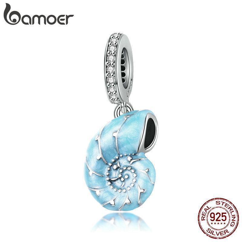 Silber Nette Blaue Conch Anhänger Charm Fit Original Armband Für Frauen 925 Sterling Silber Schmuckherstellung SCC1560 210512