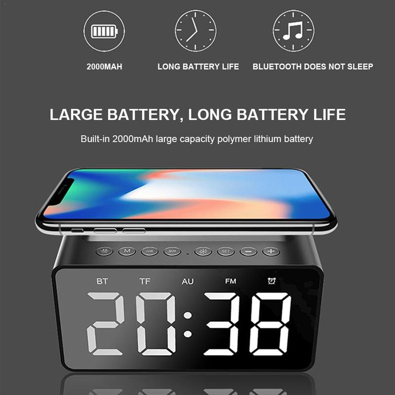AEC BT508 con carga inalámbrica Bluetooth Speaker Reloj LED Alarma Banco de energía 3 en 1 Hora-Clock Impermeable Mini Coche Pequeño altavoz