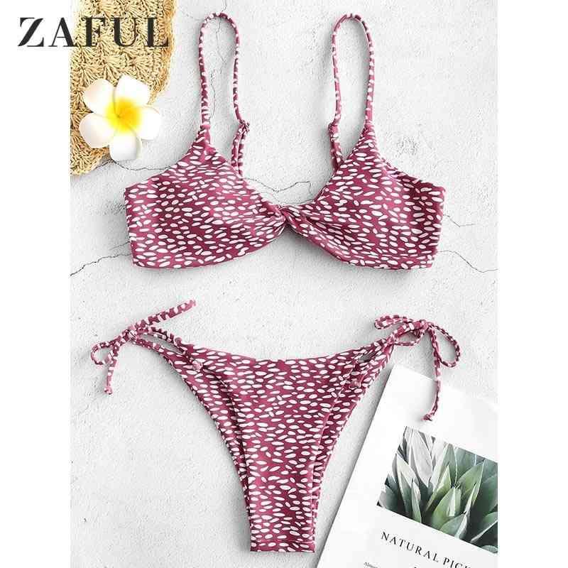 Zaful sexy impresión bikini manchado traje de baño mujer bikinis conjunto acolchado traje de baño relleno verano playa spaghetti correas traje de baño 210319